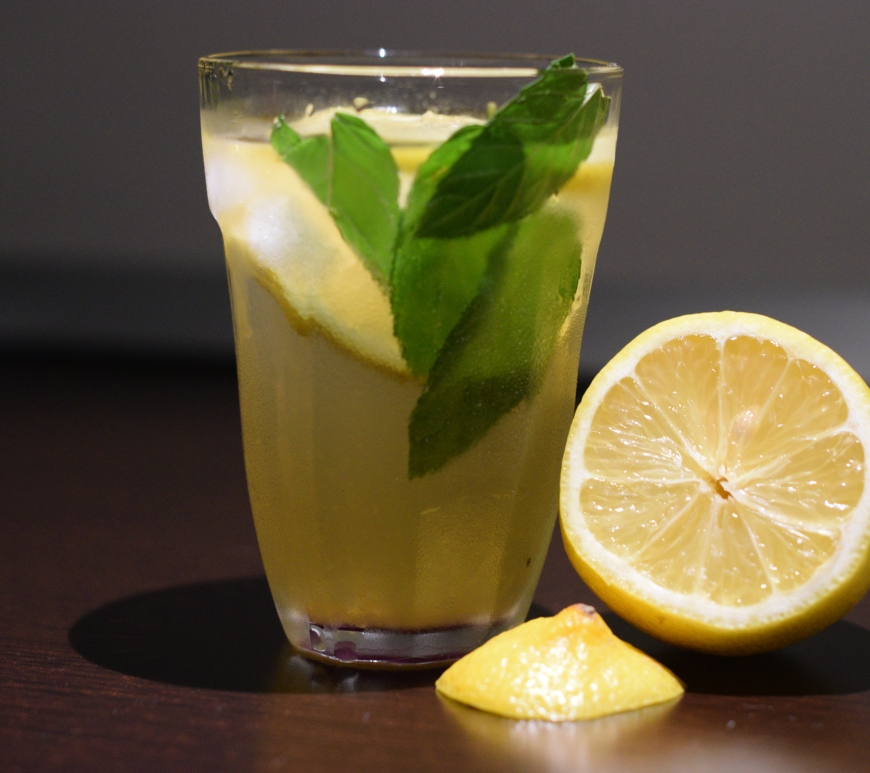 iced green team with lemon ginger and mint homemade