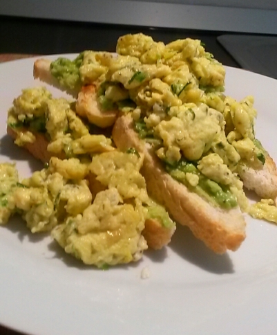 Some scrambled egg on top
