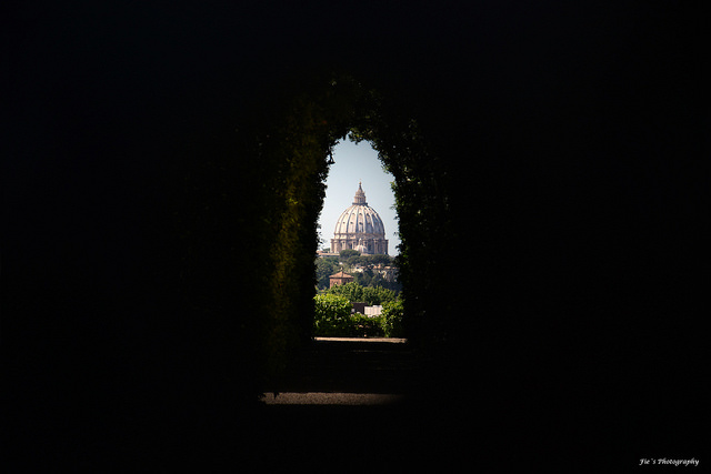 Vatican dome through keyhole of knights of Malta Embassy in Rome